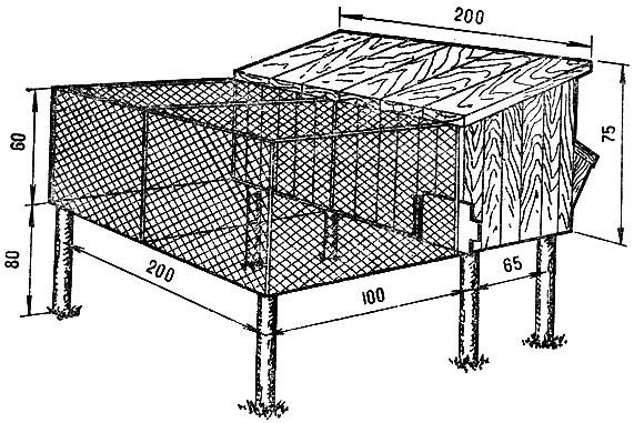 Схема комбинированной клетки с выгулом для содержания кроликов
