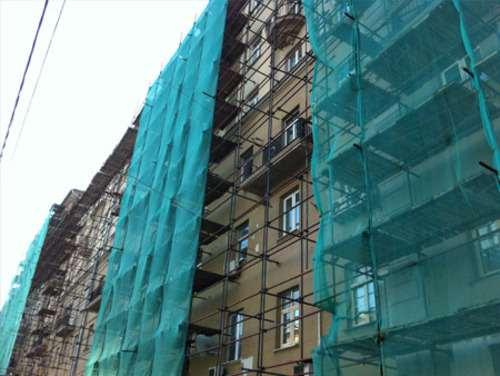 Маскировочная сетка применяется для защиты фасадов зданий