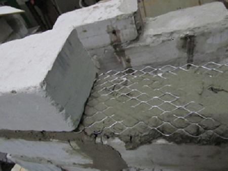Укрепление кладки из пеноблоков пластиковой сеткой