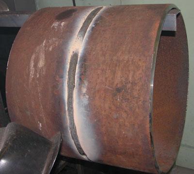 Вид сварного шва после сварки с применением порошковой проволоки