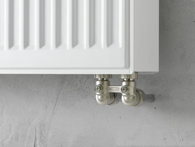 Нижнее подключение радиатора из стены