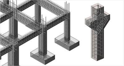 Пример армирования каркасного здания на колоннах с двумя консолями